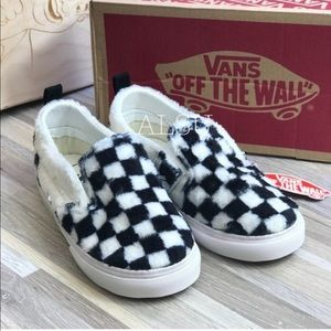 VANS Slip On V Sherpa Checkerboard Faux Fur Kid's